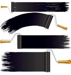 Black roller brush on white background vector