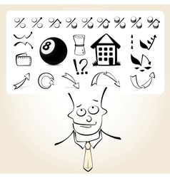 Doodle businessman with icon thoughts vector