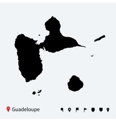 High detailed map of guadeloupe with navigation vector