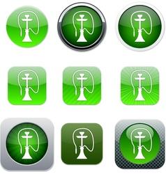 Hookah green app icons vector