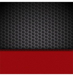 Red leather panel on black mesh vector