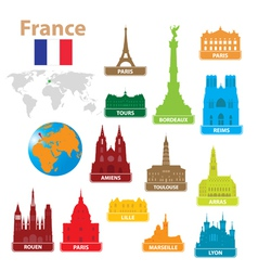 Symbols city to france vector