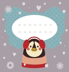 Holiday card with penguin vector