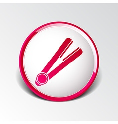 Straightener icon hai outline white curl iron vector