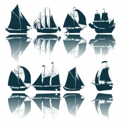 Sailing ship silhouettes vector