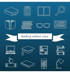 Reading outline icons vector