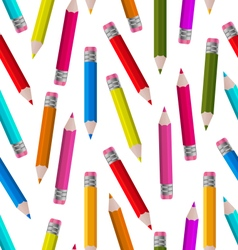 Seamless wallpaper with colorful pencils vector