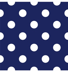 Seamless dark blue pattern with white polka dots vector