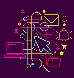 Symbols of office work on abstract colorful dark vector