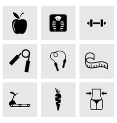 Black diet icon set vector