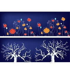 Floral banners with trees and grass vector