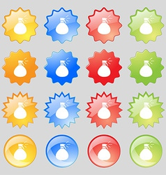 Plastic spray of water icon sign big set of 16 vector
