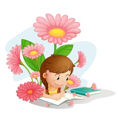 Girl studying vector