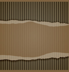 Torn corrugated cardboard border vector
