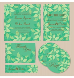 Wedding set with flowers vector