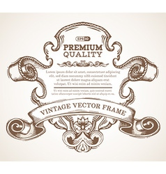 Vintage border frame with retro ornament vector