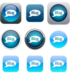 Blog blue app icons vector