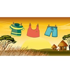 Clothes hanging in the wire vector
