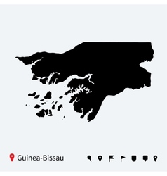 High detailed map of guinea-bissau with navigation vector