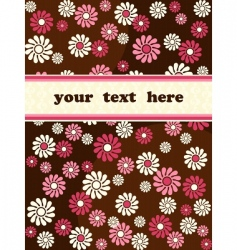 Retro banner with pink flowers vector
