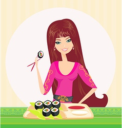 Beautiful girl enjoy sushi vector