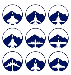 The icons of military aviation vector