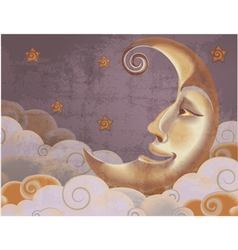 Retro style half moon clouds and stars vector