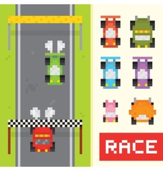 Race game objects in pixel art style vector