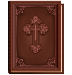 The bible closed book with a cross on the cover vector