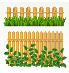 Border with fence and grass green can be repeated vector