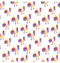 Seamless pattern with cocks in the geometric style vector