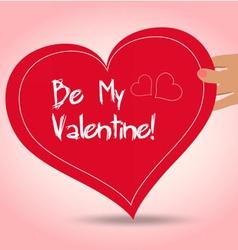 Valentine holding heart vector
