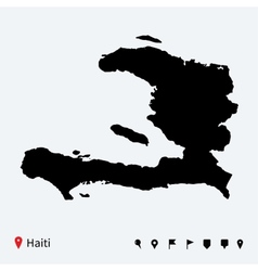 High detailed map of haiti with navigation pins vector