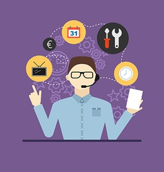 Technical support assistant man flat design vector