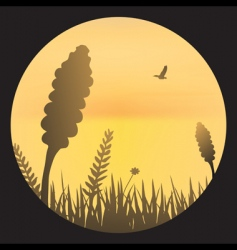 Orange sky with barley silhouette vector