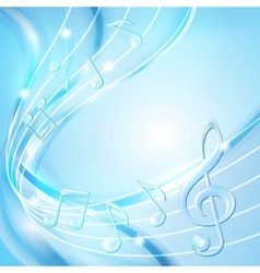 Blue abstract notes music background vector