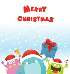 Christmas monsters card vector