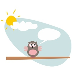 Sweet and funny talking cartoon owl on the tree vector