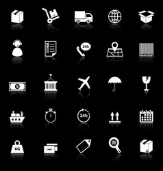 Logistics icons with reflect on black background vector
