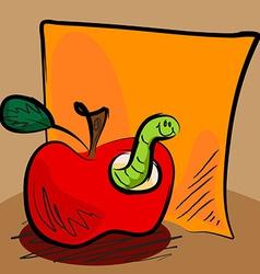 Grungy apple worm cartoon with sticky vector