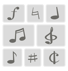 Monochrome icons with musical symbols vector
