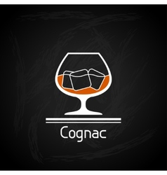With glass of cognac for menu cover vector