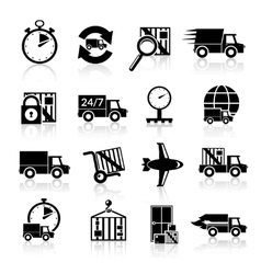 Delivery icons set black vector