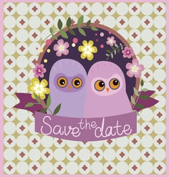 Save the date design with owls vector