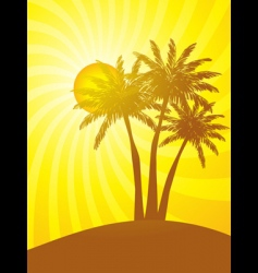 Palm trees with tropical sunset vector