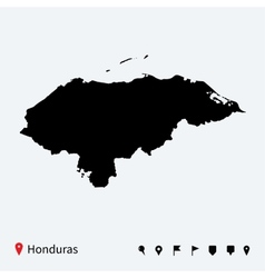High detailed map of honduras with navigation pins vector