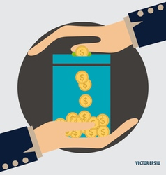 Money on hand modern flat design concept vector