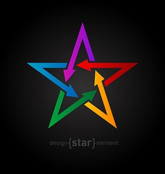 Star with arrows on black background abstract vector