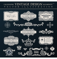 Calligraphic vintage elements and page decor vector