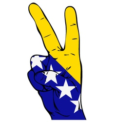 Peace sign flag of bosnia and herzegovina vector